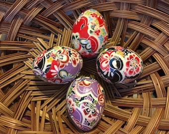 Flower Power Chiyogami/Yuzen Paper Decoupage Paper Mache Easter Eggs: Set of Four