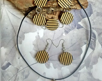 Wooden jewelry set, Unique gentle wooden jewelry, Ebony, Sycamore wood, Zebra jewelry, Agate gemstone, Free shipping