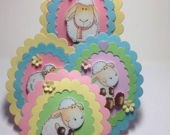 4 EASTER LAMB TAGS, Easter Tags, Layered Tags, Scrapbooking