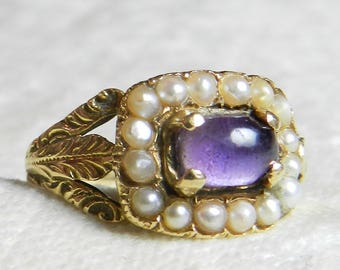 Georgian Ring Seed Pearl Cabochon Amethyst Ring Early 1800s Unique Engagement Ring Antique 14K Yellow Gold Ring February Birthday