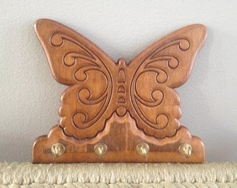 wooden carved butterfly wall hanging with hooks