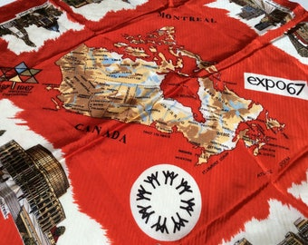 Vintage Expo 67 Souvenir Scarf, Canadian Centennial Scarf, Red and Scarf, Canada 150, 1960s