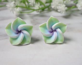 Green  Frangipani Flower Soft Ceramic Clay Stud Earrings  0216-2