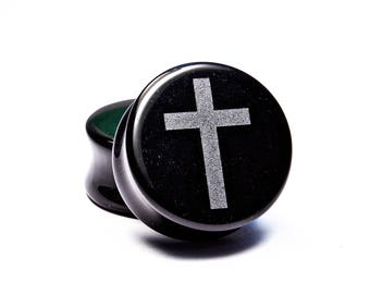 "00g (10mm) - 1-1/4"" (32mm) Cross Engraved Obsidian Plugs"