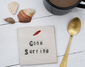 Gone Surfing Ceramic Coaster