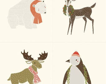 Moda-Merrily by Gingiber Christmas Critter Panel in Snow 48210-11