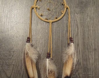 ON SALE Buckskin Suede Dream Catcher with Rare Heritage Turkey Feathers