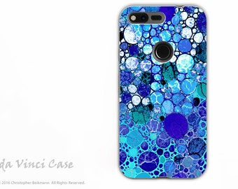 Blue Abstract Google Pixel Tough Case - Artistic Dual Layer Protection - Blue Bubbles Art Pixel Case by Da Vinci Case