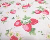 Japanese Fabric YUWA Strawberry Flowerl Offwhite Fat Quarter
