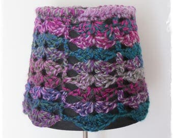Crochet Lampshade-Embellished Lampshade- Black Purple Lampshade- Boho Home Decor