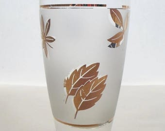 ON SALE Vintage Set of two Libbey 12oz. Frosted Beer Glasses with Gold Leaves  Mid Century Modern  Barware,  Glassware,  Bar Glass