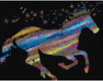 Rainbow Unicorn Cross Stitch Pattern, Digital Download PDF