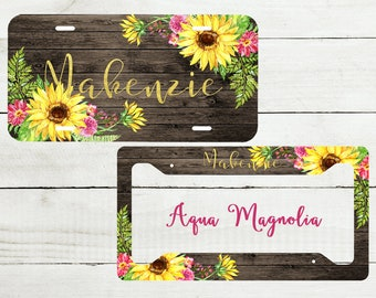 Sunflowers - License Plate - Personalized - License Plate Set - Monogrammed - License Plate Frame - Car Tag - Yellow Sunflowers