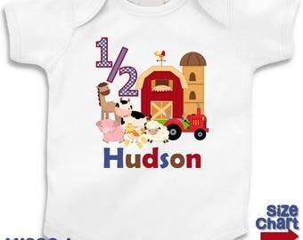 Personalized Barnyard Farm Animals Boy Girl 1/2 Birthday Party T-shirt Bodysuit Kids Cow Horse Sheep Chickens Pig Tractor Shirt
