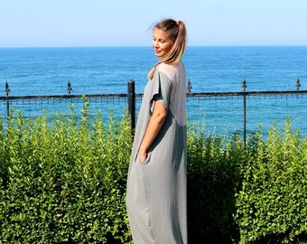 ON SALE Grey Caftan, Maxi dress, Plus size dress, Lace dress, Summer dress, Casual dress