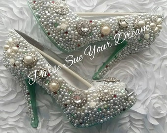 Vintage Inspired Heels - Swarovski Crystal Heels - Pearls and Rhinestone Heel Shoes - Pearl Wedding Bridal Shoes - Mint Green Wedding Color