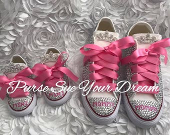 Swarovski Crystal Design Princess Converse Shoes -  Princess Converse Shoes - Flower Girl  - First Birthday Shoes - Bling Mommy and Me Shoes