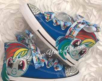 My Little Pony Custom Converse - Swarovski Crystal Shoes - Custom Shoes - Rainbow Dash Converse - My Little Pony Birthday