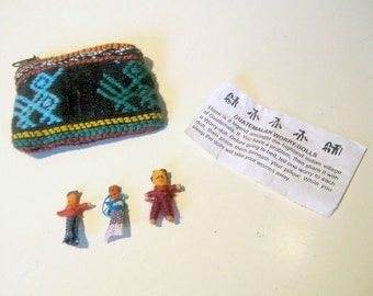3 Guatemalan Indian Worry Dolls with Handmade Coin Pouch
