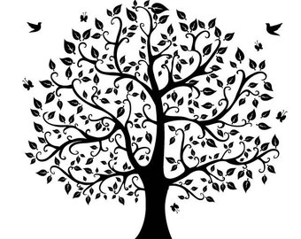 Tree silhouette digital clipart  png files Clip Art Images Instant Download