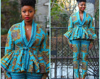 Sky - African Ankara Wax Print Wrap Jacket and Pants Set