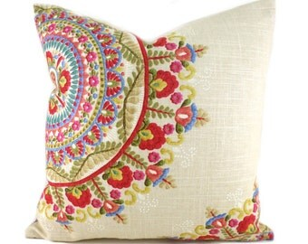 Pillow Covers ANY SIZE Decorative Pillow Cover Designer Pillows Red Pillow Richloom Margarita Garden