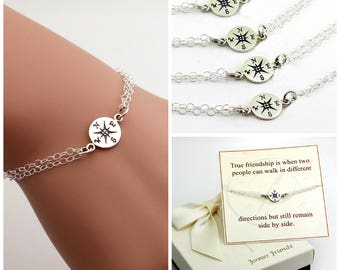 Free Shipping. Set of 4 Bridesmaids bracelet. Compass bracelet, best friends, sister bracelet.