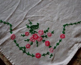 Hand Embroidered Linen Table Cloth.