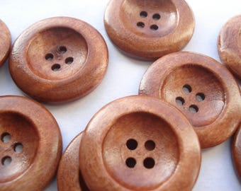 25mm Rich Brown Wood Sewing Buttons, 4-hole Rich Brown Buttons, Pack of 9 Round Wooden Buttons PL27