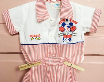 SALE>Vintage baby boy two piece outfit/ red and white stripes , champ/ puppy dog, vinatge boy clothes size 0/6M