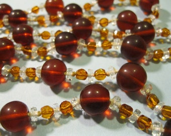vintage glass bead and crystal necklace 50 inch brown orange clear beads