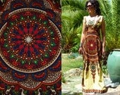 Vtg 60's 70's Boho Goddess dashiki colorful Mandala print butter sleeveless cotton fitted caftan maxi dress S//M