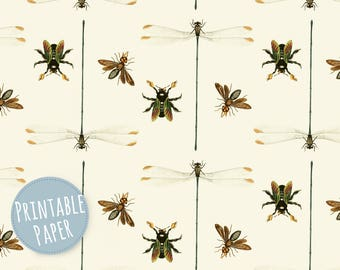 Digital Paper - Printable Gift Wrapping Paper - Wrapping Paper - Insects - Dragonflies - Vintage - Pattern