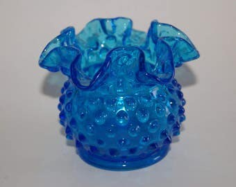 Vintage 1970s Fenton Federal Blue Squat Vase With Ruffled Edge Hobnail Pattern