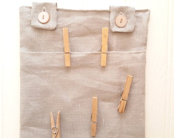 Linen clothes pin bag, clothes pin holder, peg bag, washing bag, all weather, laundry, clothes line bag, new home gift, house warming gift