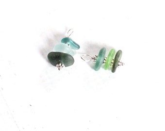 Medium Sea Glass Charm | Stacked Beach Glass Jewelry Charm | Genuine Sea Glass Jewelry | Sterling Silver Beach Jewelry