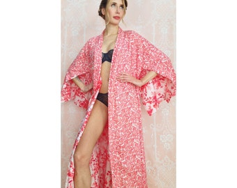 "The ""Haiku"". Fully reversible long soft cotton kimono women lingerie robe with pockets. Bohemian robe Art deco Botanical robe. Gift for her."