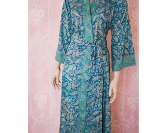 """Long faux silk crepe robe in blue and green paisleys. Size Medium-Large (US  8-10). 56"""" long."""