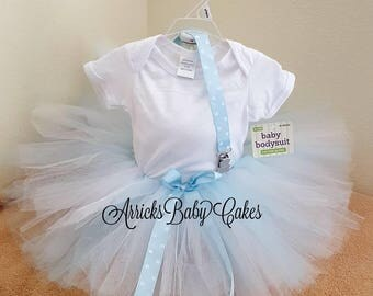 """The """"Blue Polka Dot"""" Baby Girl Tutu Outfit"""