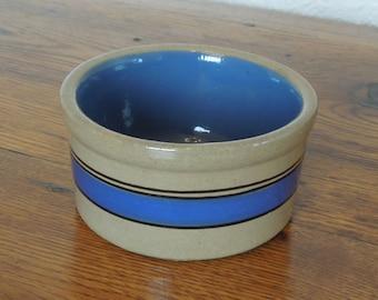 Vintage Bretby Pottery Stoneware Crock Pet Bowl Blue Band