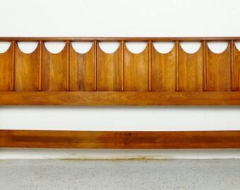 mid century modern walnut architectural King headboard Brasilia Perspecta