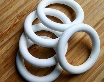 "2.5"" White Silicone Teething Rings - 65 mm - BPA Free Food Grade Silicone"