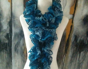 Boutique Hand Knit Teal Blue Ruffle Scarf READY TO SHIP