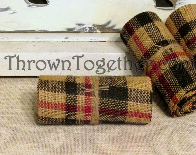 "Black & Red Primitive ""Plaid"" Burlap,  Plaid Burlap Ribbon, 3yds 5inch wide Ribbon, Accent Runner, Primitive Decor, Garland"