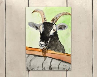 """Goat Original Art 9x11.5"""" One of a Kind 100% of the profits go directly to artists with disabilities Item 97 Mike H."""