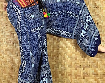Thai long wide Pants, Cotton Style in Shades of dark Navy