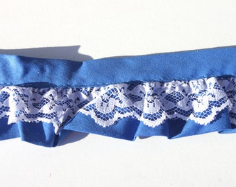 """Vintage Blue White Ruffled Cotton Lace Trim, Sewing NOS, 3 yards x  1 7/8""""W"""
