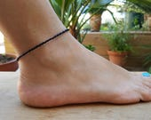 black anklet beach parties manklet surf vacation unisex men's anklet seed bead jewellery