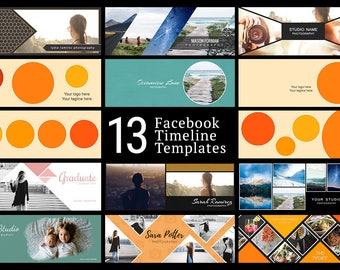 Facebook Timeline Cover Kit - 13 Facebook Timeline Templates - PSD Template - Customize Facebook Page - Instant Download - FK201