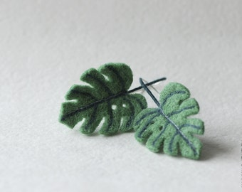 Monstera Leaf Earrings - Vegan Plant - Eco - Monstera Jewelry - Greenery - Valentines gift - Kale